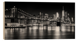 Wood  Night Skylines NEW YORK II black and white - Melanie Viola