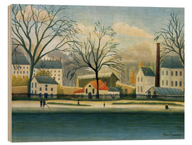 Wood print  Suburb on the banks of the Marne - Henri Rousseau