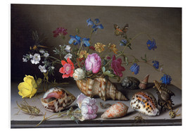 Foam board print  Flowers, shells and insects - Balthasar van der Ast