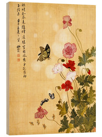 Wood print  Poppies and Butterflies - Ma Yuanyu