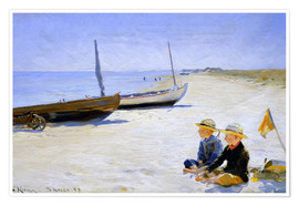 Premium poster  Two boys sitting in the sunshine on skagen beach - Peder Severin Krøyer