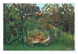 Premium poster  The hungry lion - Henri Rousseau
