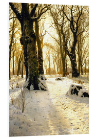 Foam board print  Winter forest with deer - Peder Mørk Mønsted