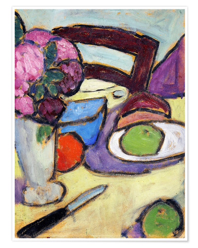 Premium poster Still Life with a chair and a vase
