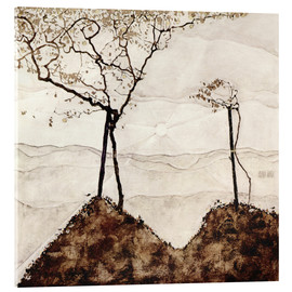 Acrylic print  Autumn sun and trees - Egon Schiele