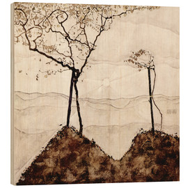 Wood print  Autumn sun and trees - Egon Schiele