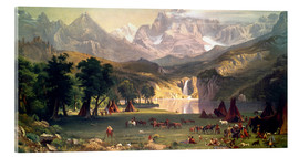 Acrylic print  Indian camp in the Rockies - Albert Bierstadt