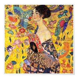 Poster  Lady with a Fan - Gustav Klimt