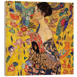 Wood print  Lady with a fan - Gustav Klimt