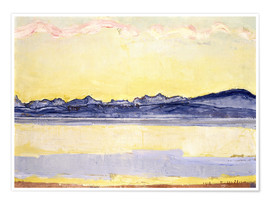 Premium poster  Mont Blanc with red clouds - Ferdinand Hodler