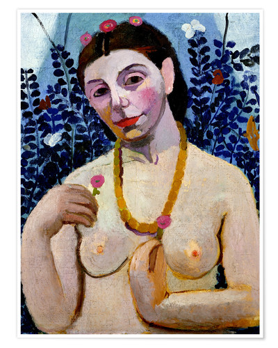 Premium poster Paula Modersohn-Becker as half act with amber necklace II