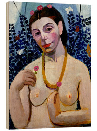 Wood print  Paula Modersohn-Becker as half nude with amber necklace II - Paula Modersohn-Becker