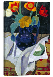 Canvas  Still life with tulips in a blue pot - Paula Modersohn-Becker