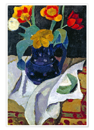 Premium poster Still life with tulips in a blue pot