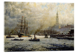 Acrylic glass  The Port of Hamburg, 1893 - Georg Schmitz