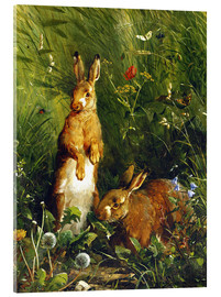 Acrylic print  Rabbits in a meadow - Olaf August Hermansen