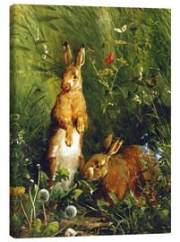 Canvas print  Rabbits in a meadow - Olaf August Hermansen