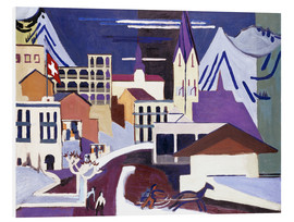 Foam board print  Davos - Square at the station - Ernst Ludwig Kirchner