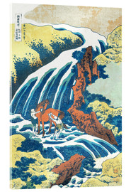Acrylic print  Two men washing a horse at a waterfall - Katsushika Hokusai