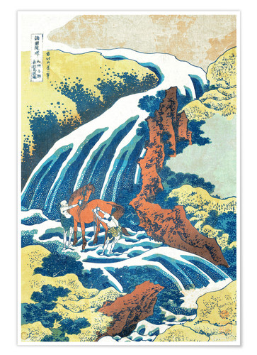 Premium poster Two men washing a horse at a waterfall