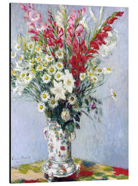 Alu-Dibond  Bouquet of gladioli, lilies and daisies - Claude Monet