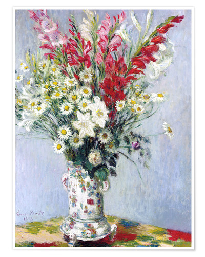 Premium poster Bouquet of gladioli, lilies and daisies