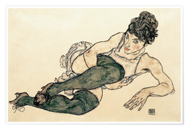 Poster  Reclining Woman with Green Stockings - Egon Schiele