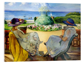 Acrylic print  Two women on a terrace by the sea - Henri Lebasque
