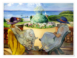 Poster  Two women on a terrace by the sea - Henri Lebasque