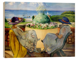 Wood  Two women on a terrace by the sea - Henri Lebasque