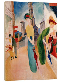 Wood print  In front of hat shop - August Macke