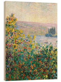 Wood print  Flower Beds at Vetheuil - Claude Monet