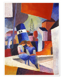 Premium poster  Children at the docks, Duisburg - August Macke