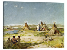Canvas  Camp of the Indians in Wyoming - Frank Buchser
