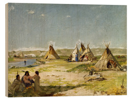 Wood print  Camp of the Indians in Wyoming - Frank Buchser