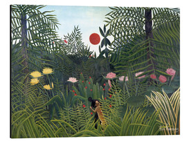 Alu-Dibond  Jungle landscape with Setting Sun - Henri Rousseau