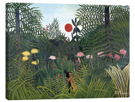 Canvas print  Jungle landscape with setting Sun - Henri Rousseau