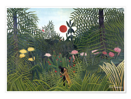 Premium poster  Jungle landscape with setting Sun - Henri Rousseau