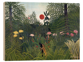 Wood  Jungle landscape with Setting Sun - Henri Rousseau