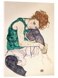 Acrylic print  Seated woman with bent knee - Egon Schiele