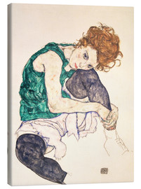 Canvas  Seated Woman with Bent Knee - Egon Schiele