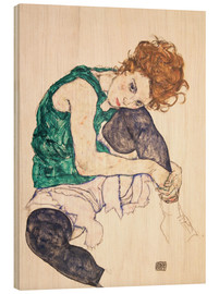 Wood print  Seated Woman with Bent Knee - Egon Schiele