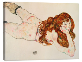Canvas print  Lying on his stomach nude - Egon Schiele