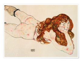 Premium poster  Lying on his stomach nude - Egon Schiele
