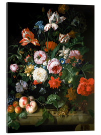 Acrylic glass  Still life with flowers and fruits - Rachel Ruysch
