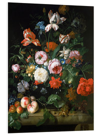 Foam board print  Still life with flowers and fruits - Rachel Ruysch