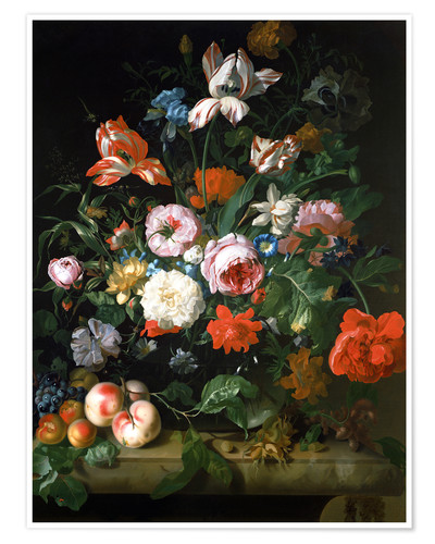 Premium poster Still life with flowers and fruits