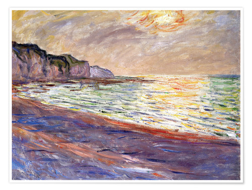 Premium poster Beach at Pourville, Sunset