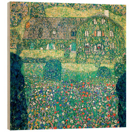Wood print  Country house on Attersee lake - Gustav Klimt