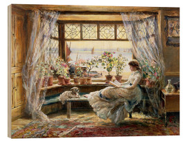 Wood print  Reading at the window - Charles James Lewis